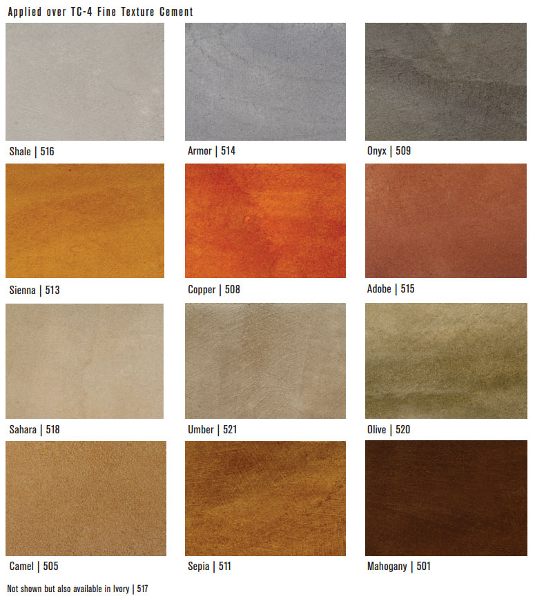 3g Concrete Solutions Water Based Stain Color Sheet